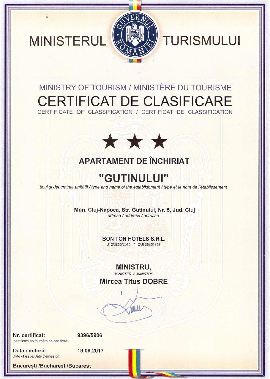Certificat de clasificare Gutin